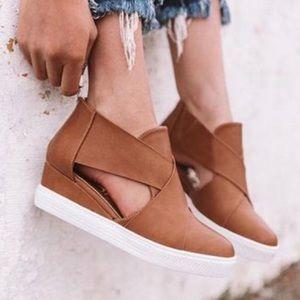 Side Cutout Wedge Sneakers